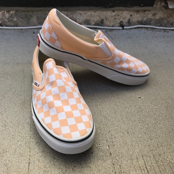 Apricot Checkerboard Slipon Vans